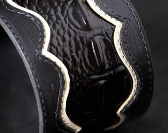 Memorial Day Sale Leather Cuff Bracelet, Black Cuff:  Manhattan Cuff