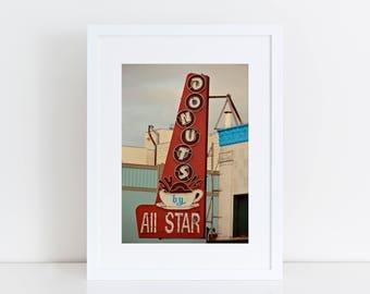 Allstar Donut Sign | Neon Sign Print |  San Francisco Photography | Diner Decor | San Francisco Art | Retro Kitchen Decor | Retro Roadside