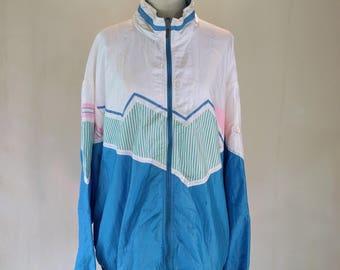 1980s Pastel New Wave Windbreaker Jacket Top Oversize