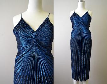 1970s Blue Pleated Lurex Dress