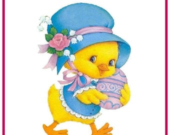 GREAT SALE Contemporary Easter Duck with Easter Egg Counted Cross Stitch Chart / Pattern