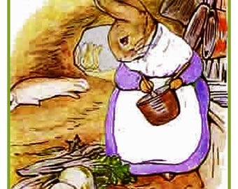 GREAT SALE Mrs Rabbit Makes Soup by British Author and Artist Beatrix Potter Counted Cross Stitch Chart Graph Pattern
