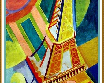 GREAT SALE The Eiffel Tower by Modern Artist Robert Delaunay Counted Cross Stitch Chart Graph Pattern