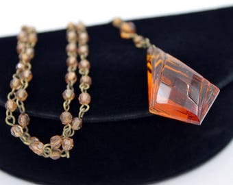 Edwardian Revival Lavalier Necklace with Topaz Acrylic Pendant