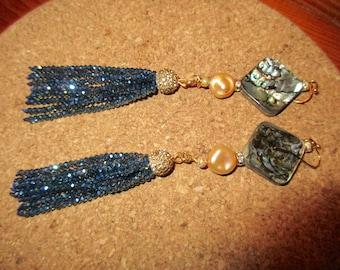 "Posh 4 7/8"" Long ABALONE, Light Gold BAROQUE Coin PEARL, Swarovski Crystal, Sapphire Tassel Pierced Earrings w/Micro Pave Gold Bead Caps"