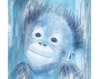 5x7 Nursery Print - Monkey, Blue