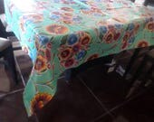 46x60 Oilcloth TABLECLOTH in aqua background with flowers