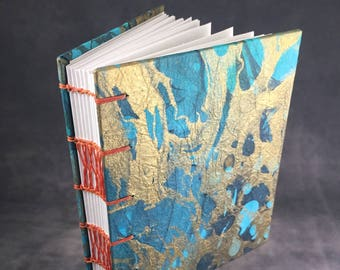 Blue and Copper Marbled Coptic bound journal