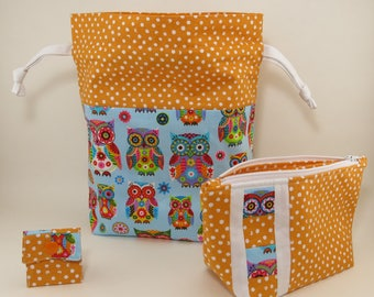 "Knitting Project Bag - New! 2 Piece Set ""Feathered Friends"" Drawstring Project Bag & Zippered Notions Pouch (C.5)"
