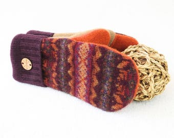 Fall Colors Mittens BURGUNDY & TANGERINE Orange Fair Isle Recycled Sweater Wool Mittens Fleece Lined by WormeWoole