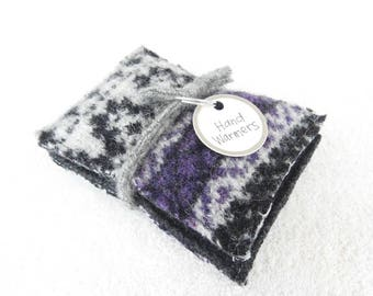 Pocket Handwarmers BLACK & PURPLE with Gray Fair Isle Sweater Wool Hand Warmers Upcycled Rice Bags Stocking Stuffer Gift Under 15 WormeWoole