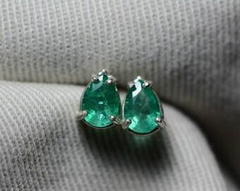 Emerald Earrings, Pear Cut Emerald Stud Earrings 0.94 Carat Appraised at 750.00 In Sterling Silver, May Birthstone, Natural Emerald
