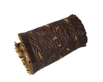 Festival cuff - Leather cuff - Fringe cuff - Forearm Cuff - Applique design - Embroidered - Western style - Cowgirl Fashion - Costume Wear