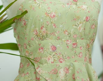 SALE Floral dress dusty green dress floral bridesmaid dress floral sundress floral prom dress cottage dress tea dress green bridesmaid