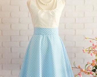 Flash SALE Blue Dress Blue Plaid Dress Blue Prom Dress Blue Party Dress Blue Bridesmaid Dresses Blue Sundress Scoop Neck Dress