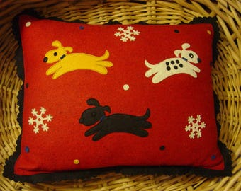 Charming Vintage Samii Home of Vermont Wool Pillow with Appliqued Dogs Made in Hungary
