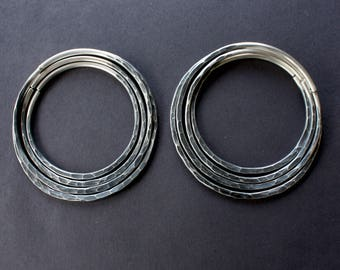 Hammered Hoops Stacking Set of Antiqued Sterling Silver 10 Gauge Hoops 10g Earrings Hoop Earrings Hoops for Gauges Hoops Eyelets Textured