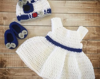 R2D2 Inspired Baby Girl Costume/ Crochet R2D2 hat/Star Wars Costume/Star Wars Photo Prop Newborn to 24 Month Size-MADE TO ORDER