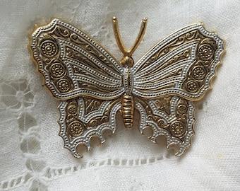 LOVELY Spanish Damascene Butterfly Pin VINTAGE
