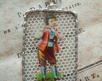 Fiona & The Fig - Victorian - Die Cut Scrap - Young Boy with Stripped Stockings - Soldered Charm - Necklace - Pendant-Jewelry