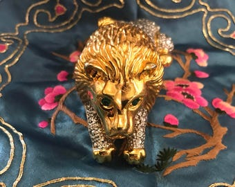 1980s Lion Brooch with Emerald Eyes