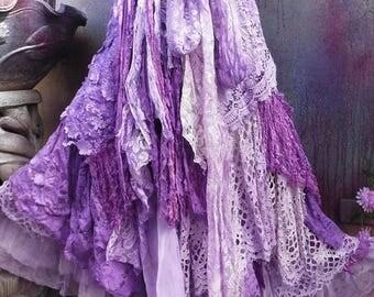 20%OFF wedding, bridal,tattered skirt, boho, fantasy, stevie nicks, bohemian skirt, gypsy skirt, woodland, lace skirt, bellydance, medium