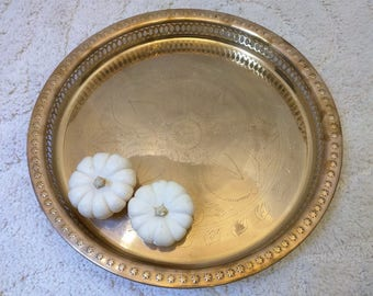 Vintage Brass Tray Round India Floral Etched Cocktail Bar Tea