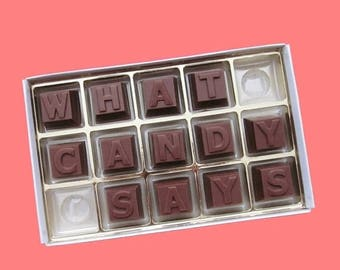 ship AFTER 8/7 Personalize Gift Her Him Men Boyfriend Girlfriend Gift Fun Graduation Gift Idea Birthday Anniversary Cute 15pc Milk Chocolate