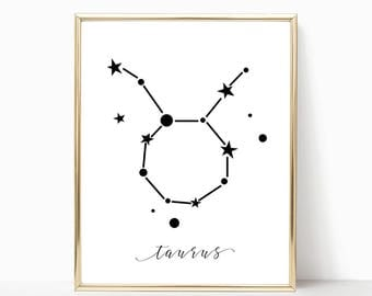 SALE -50% Taurus Zodiac Digital Print Instant Art INSTANT DOWNLOAD Printable Wall Decor
