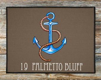 Personalized Anchor Door Mat,Nautical Door Rug, Beach House Doormat, Coastal Doormat, Lake House Boat Welcome Mat, New Boat Gift