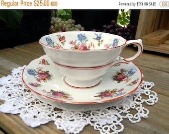 ON SALE Teacup, Cup and Saucer, Grosvenor, Jackson Gosling, English Bone China, Cup Saucer Set 12003