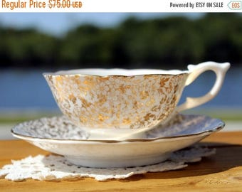 ON SALE Cup and Saucer, Stunning Cabinet Teacup -  Chintz Gilt Filigree - High Handled Wide Mouthed 13000