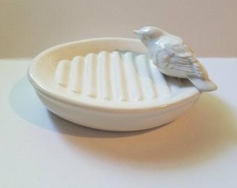 Bird Soap Dish White Bird on Top Trinket Dish Vintage Bird Design Ready To Ship Home Decor Farmhouse Decor White Dish