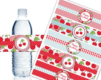 Sweet Cherry Water Bottle Labels, Printable Water Bottle Labels, Cherry Theme Party Decor, Birthday - Instant Download - DP501