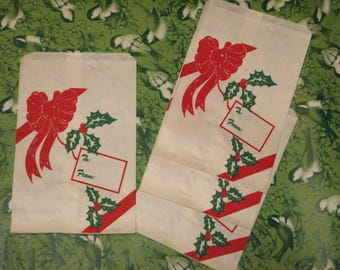 """See IDEAS for RED Green VINTAGE 4 Large Christmas Paper Treat Bags  5"""" x 7 +""""  Gift Wrap Utensil Holders Baked Goods Candy Stocking Stuffers"""