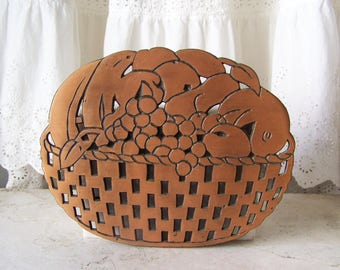 Vintage Copper Trivet Cast Iron Copper Plated Fruit Basket Hot Plate 1980s