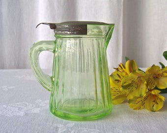 Vintage Vaseline Glass Pitcher Depression Glass Syrup Pitcher Uranium Glass 1930s