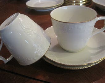 2 Rosenthal Group Classic Rose with Gold Trim Cup and Saucers