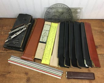 Huge Lot of Vintage Drafting Slide Rulers & Other Drafting Tools - Early 1900's to 1970s - Over 20 Pieces