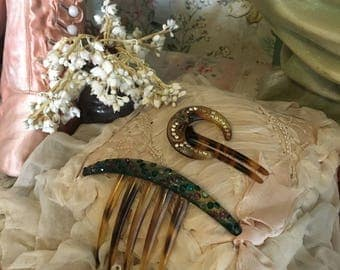 2 Antique 19th Century Hair Combs Comb Adorned With Gems