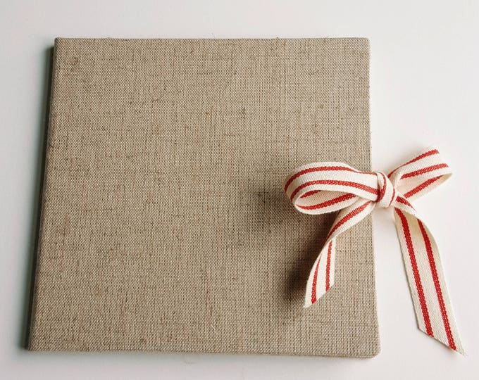 Ready to Ship - Single Disc - Natural Linen and Cotton Ribbon CD / DVD Case