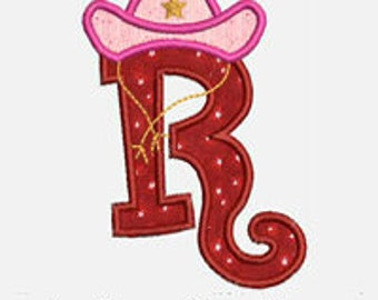Cowgirl Alphabet A-Z...Embroidery Applique Design...Two sizes for multiple hoops...Item1322...INSTANT DOWNLOAD