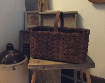 Extreme primitive painted market basket, primitive decor, handwoven basket