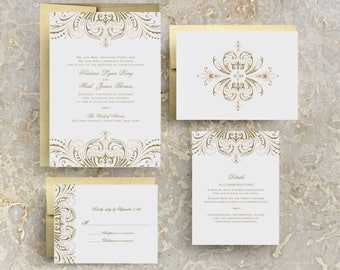 Blush Pink and Gold Invitations, DIY Wedding Invitation Suite, Great Gatsby Invitation, Vintage Wedding Invitations Templates, Printable