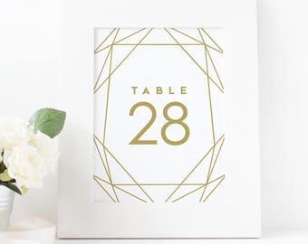 printable gold table numbers, wedding table numbers, printable table numbers, table numbers 1-30, instant download, geometric, template