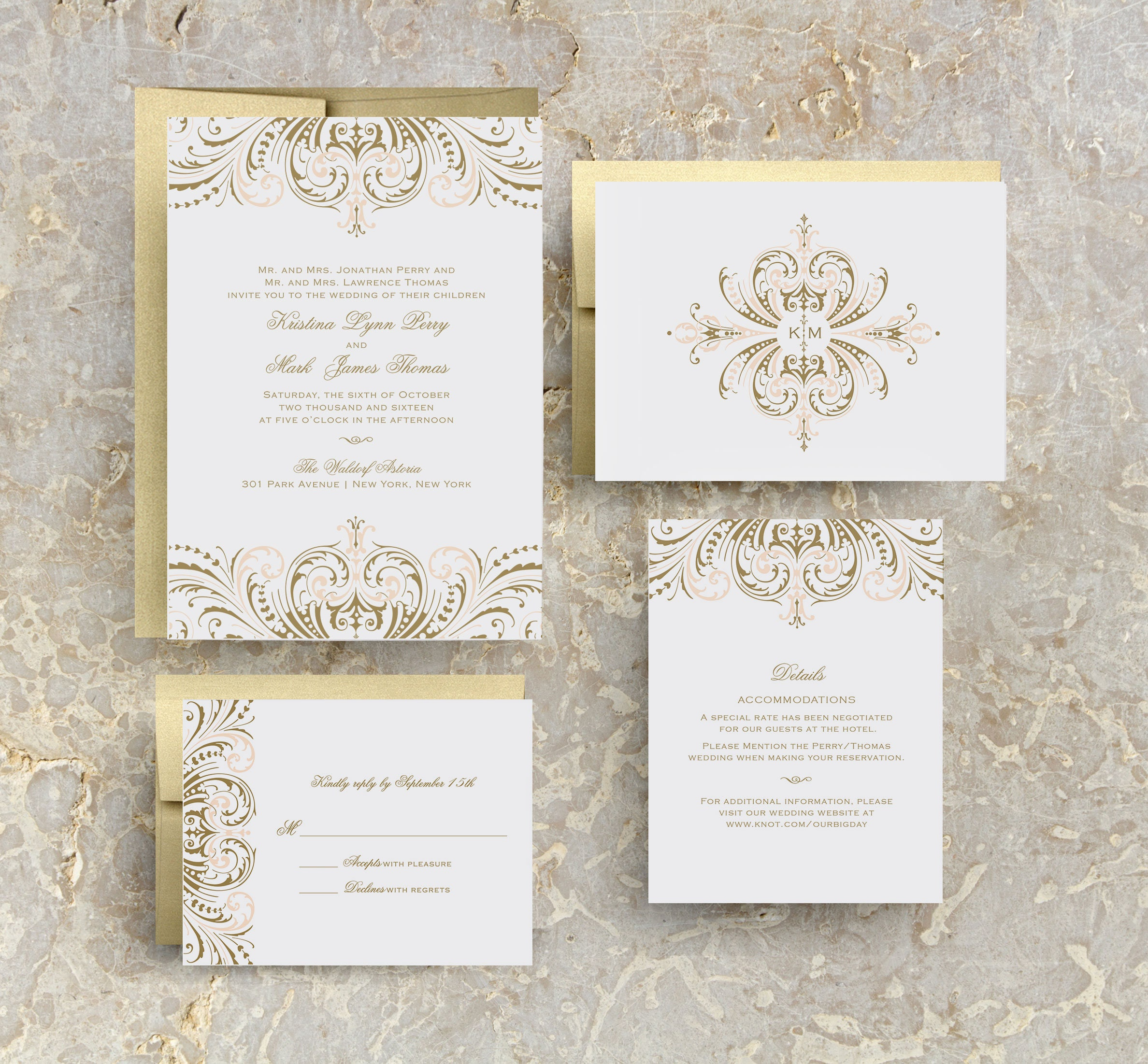 Blush Pink And Gold Wedding Invitations Diy Wedding