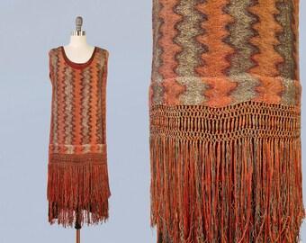 RARE 1920s Dress / LAMÉ Zig Zag Lightning Bolts 20s Dress / Fringe! / Gold Metal Threads