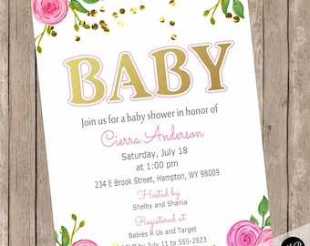 Girl baby shower invitation, elegant baby shower invitation, floral baby shower invitation, Pink flower baby shower invitation