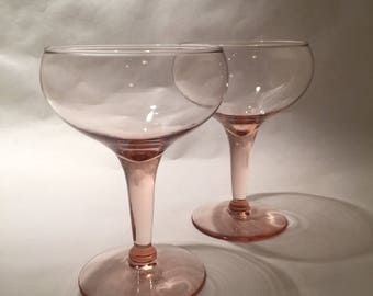 Pair Pink Champagne Coupes