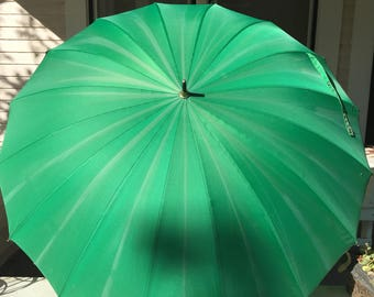 Vintage Green Umbrella with Large Ring Handle